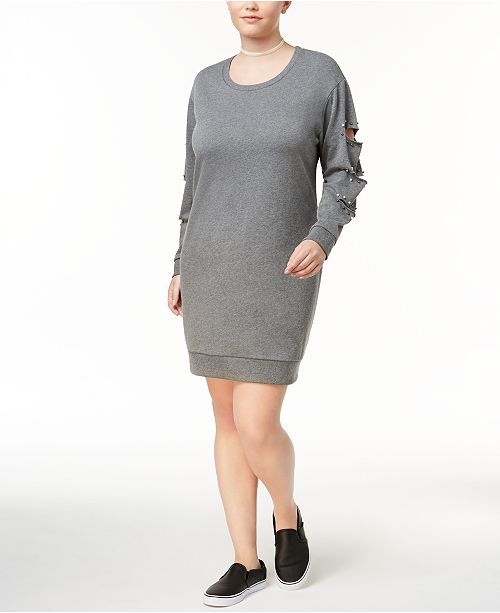 Almost Famous Trendy Plus Size Ripped Sweatshirt Dress & Reviews ...