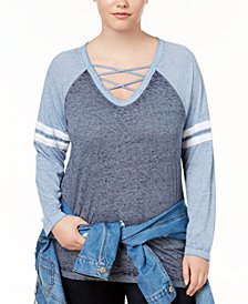 Almost Famous Trendy Plus Size Strappy Rugby T-Shirt
