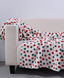Berkshire Polka Dot-Print VelvetLoft Holiday Throw