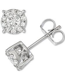 Diamond Halo Stud Earrings (1/2 ct. t.w.) in 14k White Gold