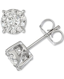 Diamond Halo Stud Earrings (1/2 ct. t.w.) in 14k White Gold