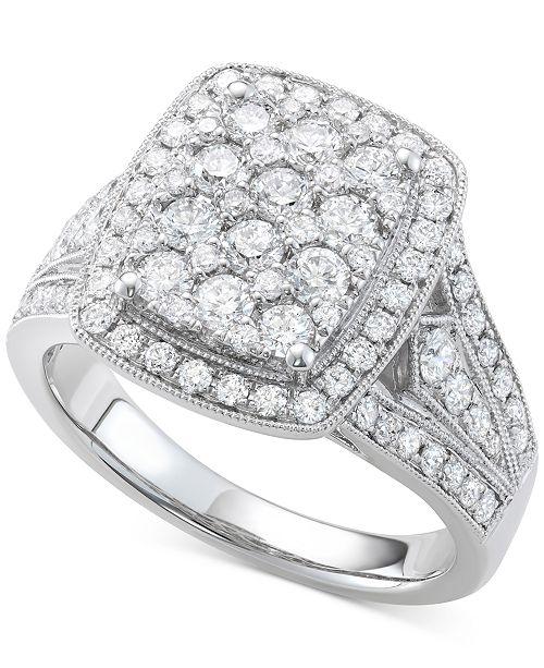 Macy's Diamond Cluster Ring (1-1/2 ct. t.w.) in 14k White Gold