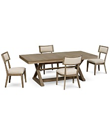 Rachael Ray Highline Expandable Dining Furniture, 5-Pc. Set (Trestle Dining Table & 4 Side Chairs)