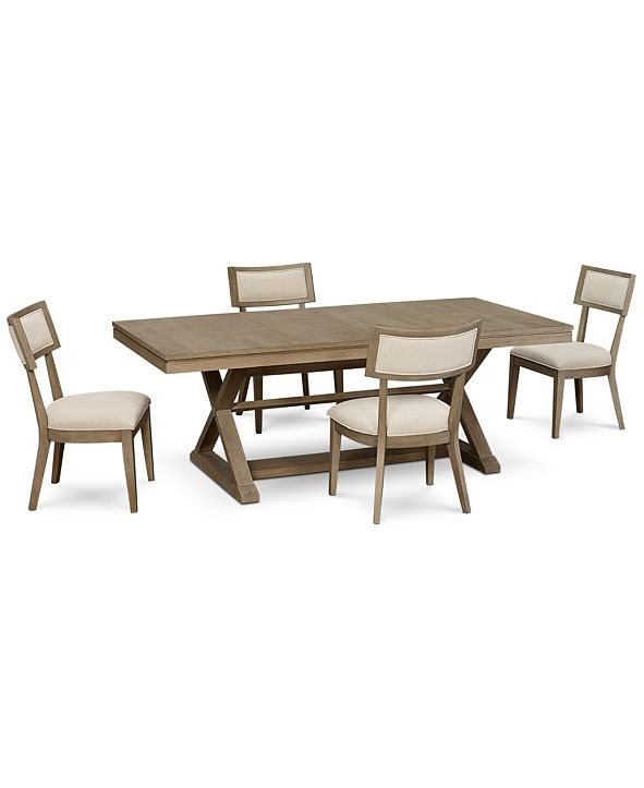 Furniture Rachael Ray Highline Expandable Dining Furniture, 5-Pc. Set (Trestle Dining Table & 4 Side Chairs)