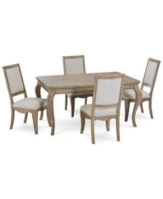 Martha Stewart Bergen Dining Furniture, 5-Pc. Set (Expandable Dining Table & 4 Side Chairs), Created for Macy's