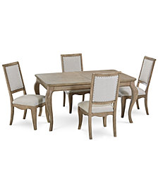 CLOSEOUT! Martha Stewart Bergen Dining Furniture, 5-Pc. Set (Expandable Dining Table & 4 Side Chairs), Created for Macy's