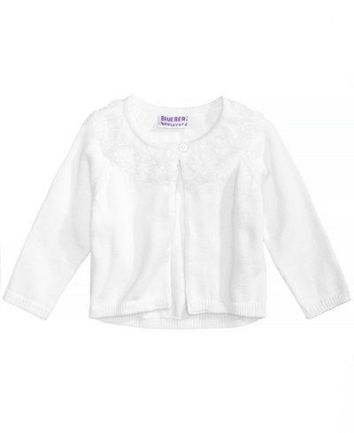 Blueberi Boulevard Rosette-Trim Cardigan, Baby Girls