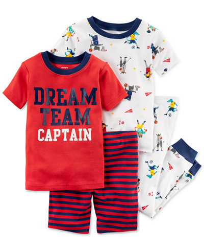 Carter's 4-Pc. Printed Cotton Pajama Set, Baby Boys