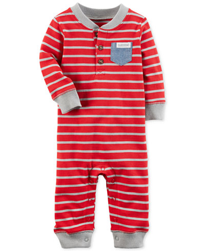 Carter's Striped Handsome-Pocket Cotton Coverall, Baby Boys
