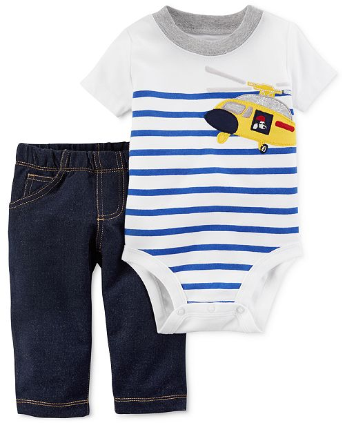 6ee96a4f1 ... Baby Boys; Carter's 2-Pc. Helicopter Cotton Bodysuit & Pants Set, ...