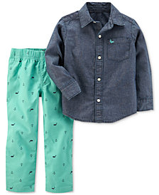 Carter's 2-Pc. Chambray Cotton Shirt & Shiffli Pants Set, Baby Boys