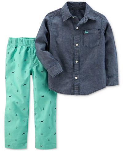Carter's 2-Pc. Chambray Cotton Shirt & Shiffli Pants Set, Baby Boys