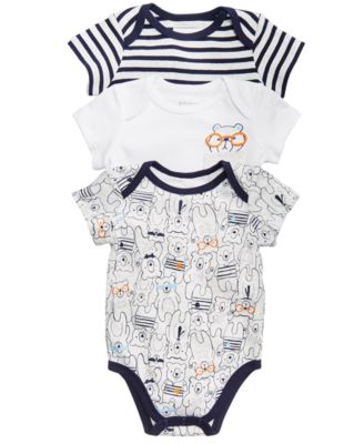 Baby Boys 3-Pack Printed Cotton Bodysuits, Created for Macy's