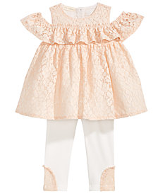 First Impressions 2-Pc. Lace Tunic & Leggings Set, Baby Girls, Created for Macy's