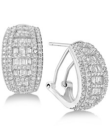 Cubic Zirconia Baguette Hoop Earrings in Sterling Silver