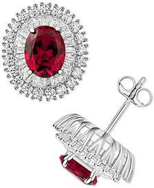 Cubic Zirconia & Simulated Ruby Stud Earrings in Sterling Silver