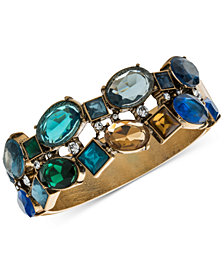 Carolee Gold-Tone Multi-Stone Hinged Bangle Bracelet