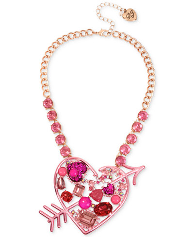 Betsey Johnson Rose Gold-Tone Pink Stone Heart & Arrow Statement Necklace