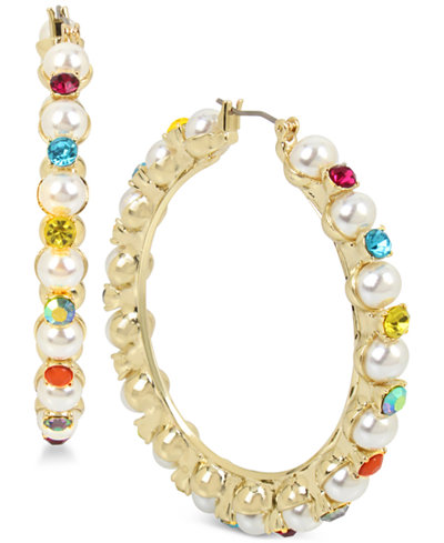 Betsey Johnson Gold-Tone Multicolor Stone & Imitation Pearl Hoop Earrings