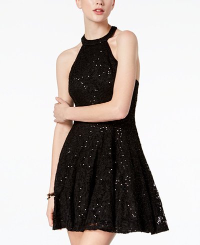 B Darlin Juniors' Sequined Lace Halter Dress