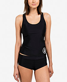 Volcom Simply Solid Tankini & Cheeky Boyshort Swim Bottoms