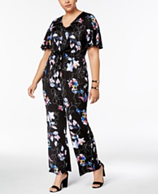 c4a14ca5bb3f NY Collection Plus Size Printed Tie-Waist Jumpsuit