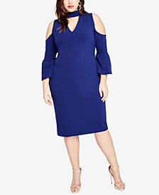 RACHEL Rachel Roy Trendy Plus Size Mock-Neck Cold-Shoulder Dress