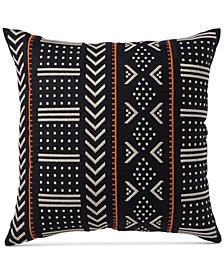 "CLOSEOUT! Hotel Collection Global Stripe Embroidered 18"" Square Decorative Pillow, Created for Macy's"