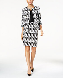 Kasper Open-Front Jacquard Blazer & Pencil Skirt