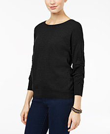 I.N.C. Ruched-Sleeve Sweater, Created for Macy's