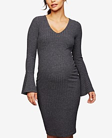 Maternity Bell-Sleeve A-Line Dress