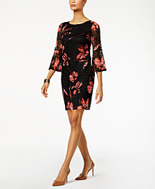 Alfani Lace Floral-Print Dress, Created for Macy's