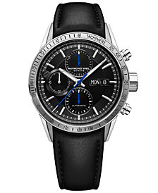 RAYMOND WEIL Men's Swiss Automatic Chronograph Freelancer Black Leather Strap Watch 42mm