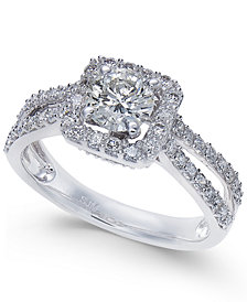 Diamond Square Halo Engagement Ring (1-1/3 ct. t.w.) in 14k White Gold