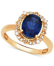Sapphire (1 ct. t.w.) & Diamond (1/10 ct. t.w.) Halo Ring in 14k Gold