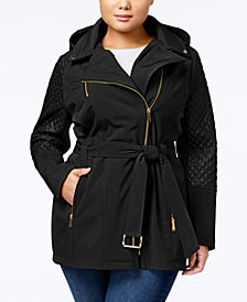 MICHAEL Michael Kors Plus Size Quilted-Sleeve Hooded Softshell Coat