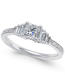 Diamond Princess Cut Engagement Ring (3/4 ct. t.w.) in 14k White Gold
