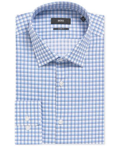 BOSS Men's Sharp-Fit Tattersall Cotton Dress Shirt