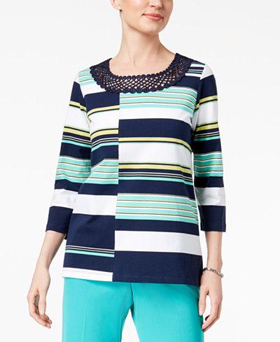 Alfred Dunner Montego Bay Striped Crochet-Neck Top