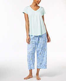 HUE® Pleated Pajama Top & Capri Pajama Pants Sleep Separates