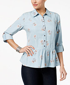 Style & Co Peplum Shirt, Created for Macy's