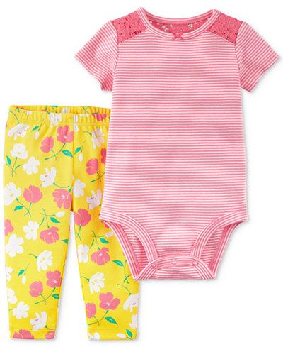 Carter's 2-Pc. Cotton Lace-Detail Striped Bodysuit & Floral-Print Pants Set, Baby Girls