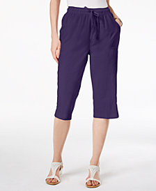 Karen Scott Petite Cotton Drawstring Capri Pants, Created for Macy's