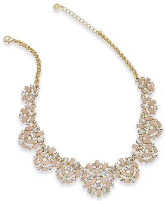 Charter Club Gold-Tone Crystal & Pink Stone Statement Necklace, Created for Macy's