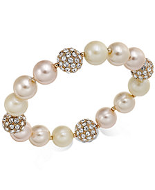 Charter Club Rose Gold-Tone Pavé & Imitation Pearl Stretch Bracelet, Created for Macy's