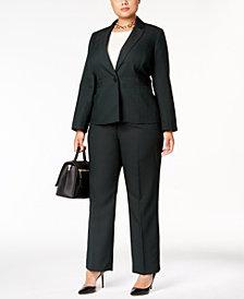 Le Suit Plus Size Single-Button Striped Pantsuit