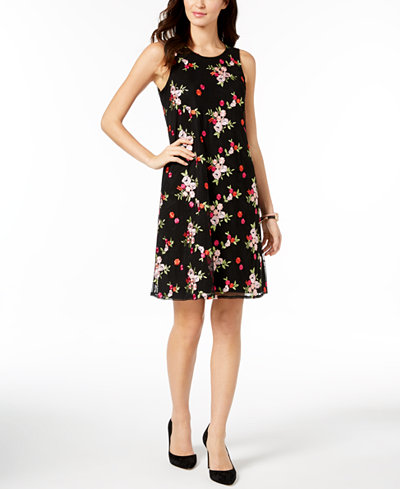 Charter Club Embroidered Mesh Dress, Created for Macy's