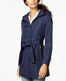 MICHAEL Michael Kors Hooded Belted Softshell Coat