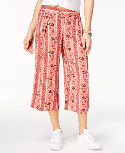 Be Bop Juniors' Printed Wide-Leg Capri Pants
