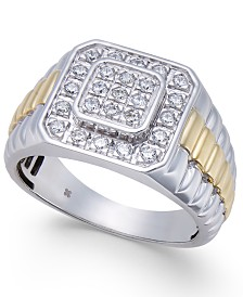 Men's Diamond Two-Tone Cluster Ring (1/2 ct. t.w.) in 10k White Gold & Yellow Rhodium-Plate
